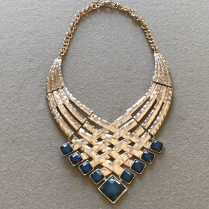 Jewelry - Statement Necklace with gold / Blue stones